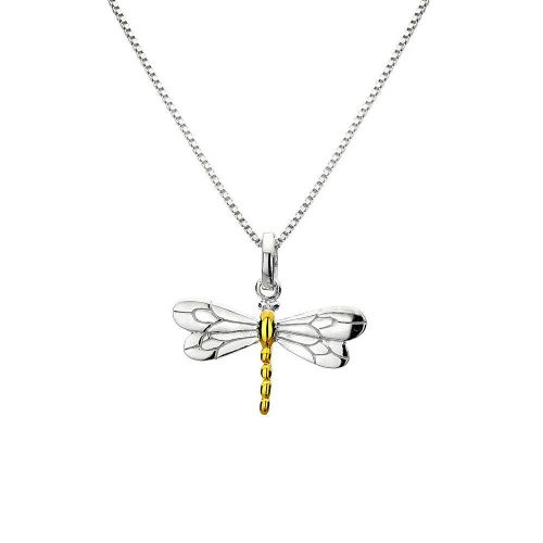 Dragonfly Pendant Sterling Silver 925 Hallmark Gold Detail All Chain Lengths